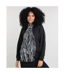 lenço feminino estampado animal print preto