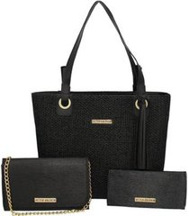kit duas bolsas sacola mais carteira lima victor valencia feminino