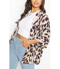 petite geweven luipaardprint kimono, bruin