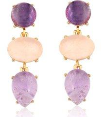 brinco toque de joia multi pedras ametista e quartzo rosa ouro amarelo
