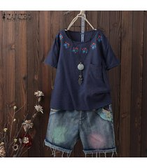 zanzea las mujeres de manga corta de verano tops cuello redondo bordado blusa plus -azul marino