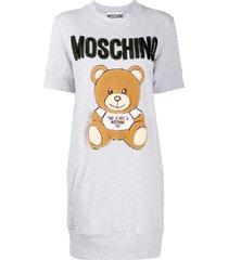 moschino teddy embroidery fleece dress - grey