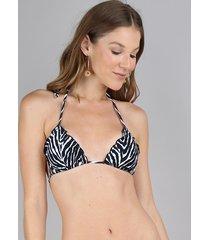 biquíni top cortininha estampado animal print zebra com bojo removível proteção uv50+ preto