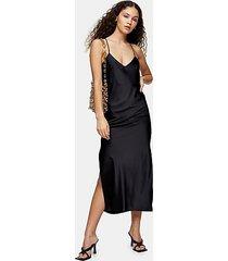 black cowl back satin slip dress - black