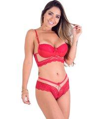 conjunto caleçon vip lingerie com tule transparente vermelho