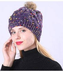cappello a falda singola da donna in maglia di lana con berretto caldo lavorato a maglia