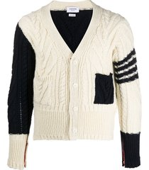 thom browne aran knit v-neck cardigan - white