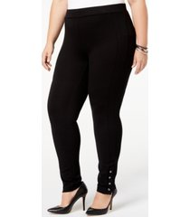 style & co plus size ponte knit snap-bottom leggings, created for macy's
