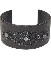 pulsera de mujer chocolate fascia rigida design leather colection vestopazzo