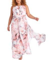 r & m richards plus size floral gown