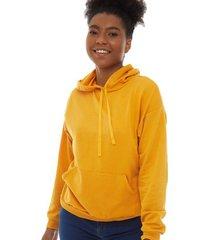 buzo mujer con capota unicolor color amarillo, talla l