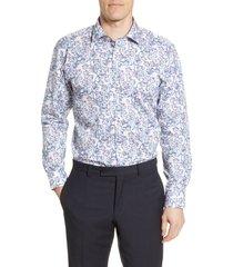 ted baker london jalapen trim fit floral dress shirt, size 16 - 32 in pink at nordstrom