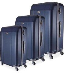conjunto de mala de viagem em abs ika continental cadeado rodas giro 360º 3 peças p/m/g azul