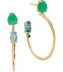prisma 18k yellow gold & gemstone hoop earrings