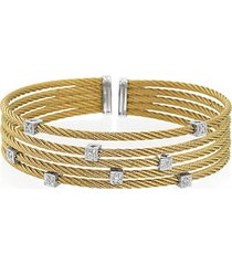 classique diamond, stainless steel and 18k gold bracelet