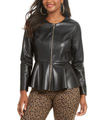 thalia sodi faux-leather peplum-hem jacket, created for macy's