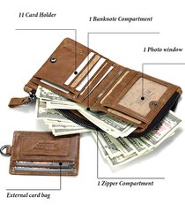 portafoglio porta carte di credito da uomo, vintage in vera pelle con cerniera, 11 slot