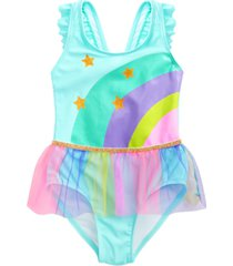sol swimwear toddler girls starry skies tie-dyed one-piece tutu swimsuit