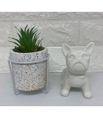 conjunto de vaso home com corda branco com bulldog pequeno