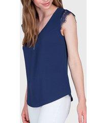 blusa ash top con encaje  azul - calce regular