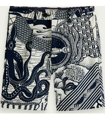 scotch & soda artwork print bermuda shorts