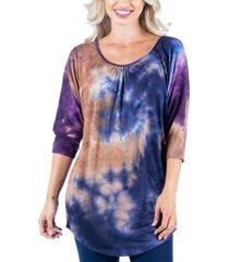 women's three quarter sleeve tie dye print long tunic top