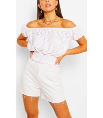 stretch broferie shirred of the shoulder top, white