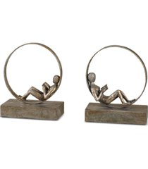uttermost lounging reader set of 2 antique-look bookends