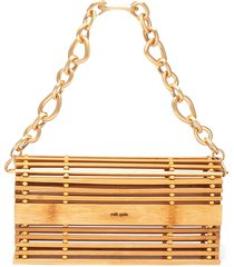 'sylva' chain handle bamboo cage shoulder bag