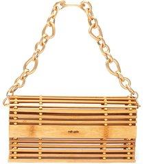 'sylva' chain handle bamboo cage shoulder bag