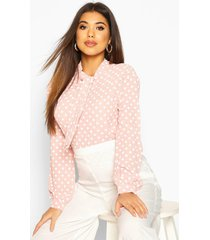 pussy bow polka dot high neck blouse, pastel pink