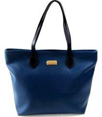 bolsa tiracolo/mão em material sintético e alças em couro maria adna azul