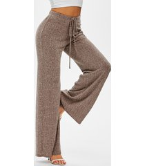 drawstring ribbed marled wide leg pants