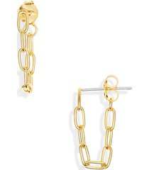 women's madewell celicate collection demi fine paperclip chain hoop earrings