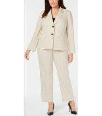 le suit plus size striped two-button pantsuit