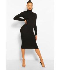 geribbelde gebreide midi jurk met col, black