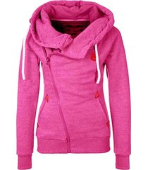 rose red women's sports personality side zipper hooded cardigan sweater jacket