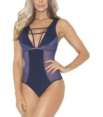 women's 1 piece strappy contrast paneled bodysuit
