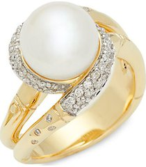 bamboo 18k yellow gold, 9.5-10mm freshwater pearl & diamond twist ring