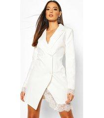 blazer jurk met kanten zoom, wit