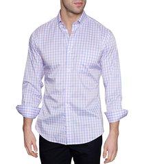 tailorbyrd men's gus modern-fit checkered shirt - white blue - size xxl