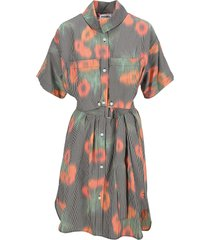 kenzo belted tunic dress coquelicot