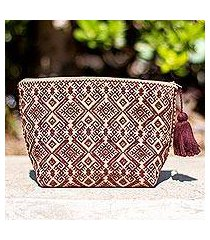 cotton cosmetic bag, 'espresso starbursts' (mexico)