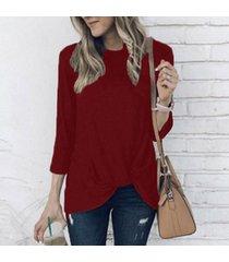 zanzea plisado nudo tops mujeres otoño invierno suéter sólido 3/4 blusas vino tinto -rojo