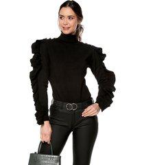 blusa arandelas mangas giive - omc478-negro