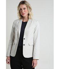 blazer feminino listrado texturizado com bolsos kaki claro