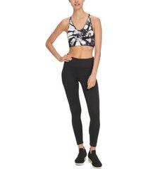 dkny sport tie-dyed perforated-back medium-impact sports bra