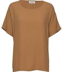 geo top blouses short-sleeved brun modström
