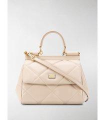 dolce & gabbana diamond-quilt sicily tote bag