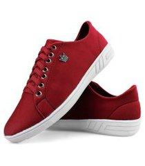 tênis urbano sapatênis masculino casual confortável vermelho